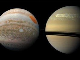 Jupiter (à gauche) et Saturne (à droite), photographiées de près par la Nasa, respectivement en 2019 et 2011. • © National Aeronautics and Space Administration (Nasa)